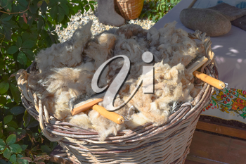The wool in the basket. Sheared from sheep wool.