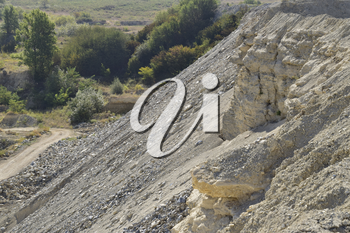 Large quarry for gravel mining, sand and clay. Mining machines and units. Mining.