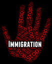 Stop Immigration Showing Warning Sign And Danger