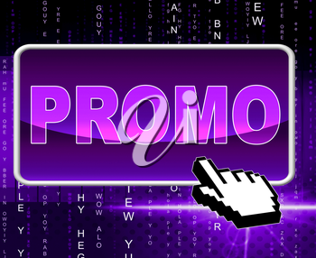 Promo Button Showing World Wide Web And Website