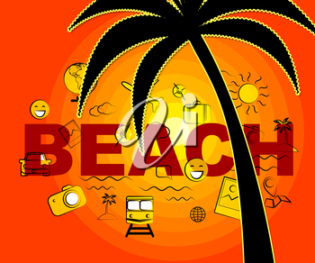 Beach Icons Showing Sign Symbol And Tropical