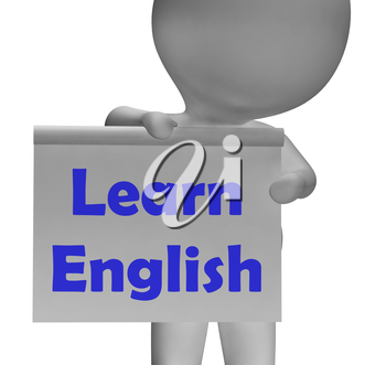 Learn English Sign Showing ESOL Or Second Language