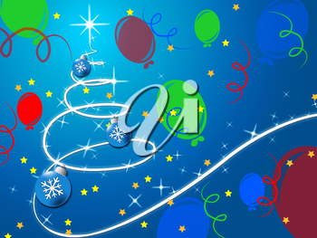 Blue Christmas Tree Background Showing December Holidays And Balloons