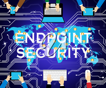 Endpoint Security Safe System Shows Safeguard Against Virtual Internet Threat - 3d Illustration