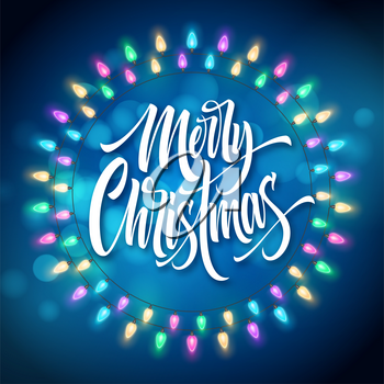 Merry Christmas lettering in gerland circle frame. Xmas string with glowing lights. Postcard, poster, banner design. Christmas greeting in garland round frame. Xmas decoration. Isolated vector