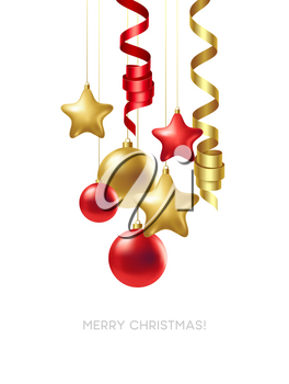 Merry Christmas card with gold and red balls. Vector illustration EPS10