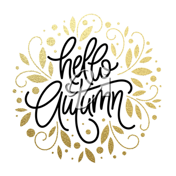 Autumn - Hand drawn vector typography with line leaf pattern in golden glitter color. Vector illustration EPS10