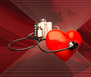 Medical concept. Medical stethoscope a Red heart and  treatment.