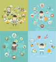 Modern vector illustration icons set in flat style of traveling, planning vacation, natural resources, ecology, healthy lifestyle.