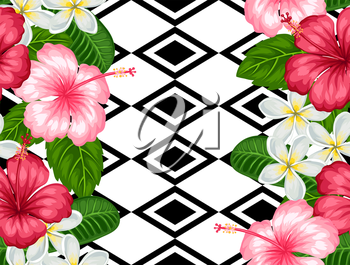 Seamless pattern with tropical flowers hibiscus and plumeria. Background made without clipping mask. Easy to use for backdrop, textile, wrapping paper.