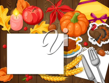 Thanksgiving Day greeting card. Background with autumn and holiday objects.