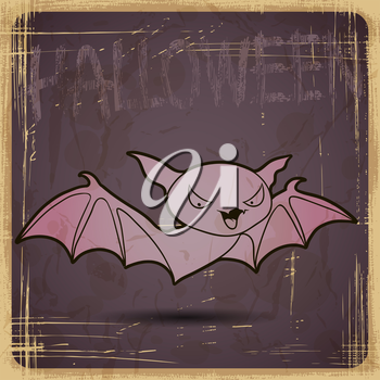EPS10 vintage grunge old card. Halloween bat.