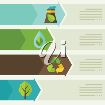 Ecology infographic with environment, green energy and pollution icons.