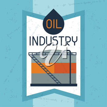Oil storage tank background. Industrial illustration in flat style.