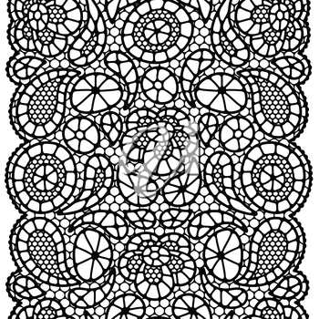 Seamless vintage fashion lace pattern with abstract flowers.