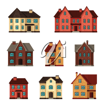 Town icon set of cottages and houses.