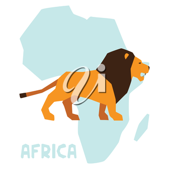 Simple illustration of lion on background africa map.