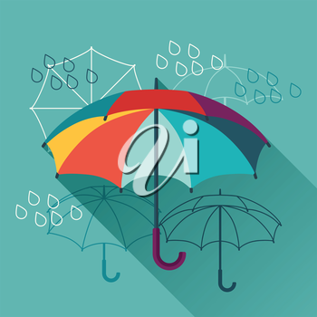 Card with umbrellas in flat design style.