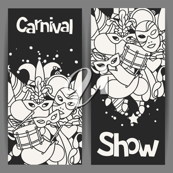 Carnival show banners with doodle icons and objects.