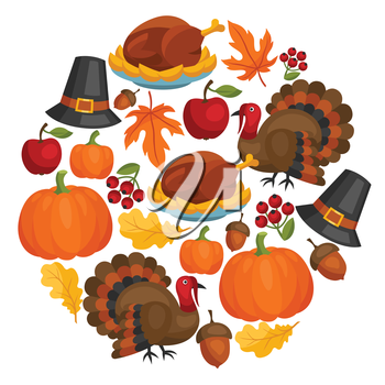 Happy Thanksgiving Day card design with holiday objects.