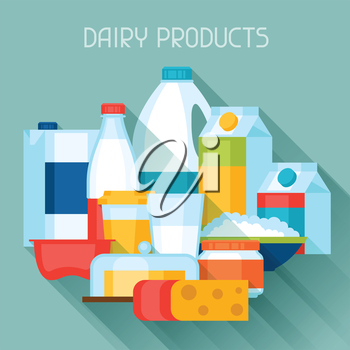 Illustration with dairy products in flat design style.