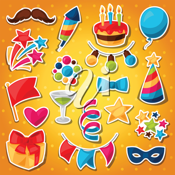 Carnival show and party set of celebration stickers.