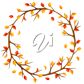 Autumn frame with branches of tree and yellow leaves. Seasonal illustration.