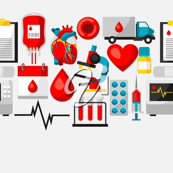Seamless pattern with blood donation items. Medical and health care objects.