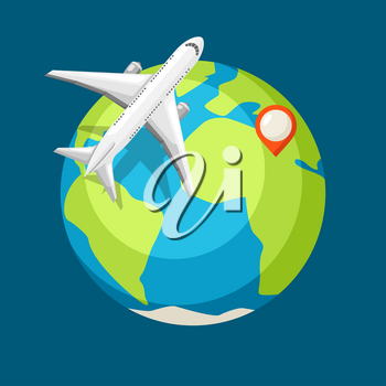 Travel illustration. Traveling background with airplane and earth.