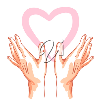 Two hands holds heart. Illustration of helping each other, care and protection.