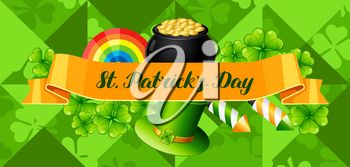 Saint Patricks Day banner. Holiday illustration with Irish festive national items.