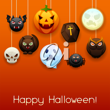 Happy Halloween greeting card. Celebration party background with angry stylized characters.