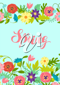 Background with spring flowers. Beautiful decorative natural plants, buds and leaves.