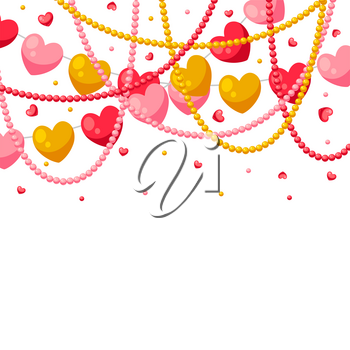 Happy Valentine Day greeting card. Holiday background with garland of hearts.