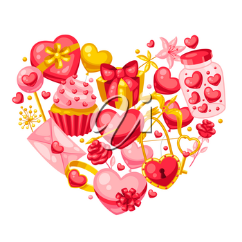Happy Valentine Day greeting card. Holiday background with romantic items and love symbols.