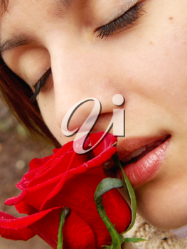 Red rose and girl. Romantic design.