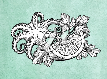 Octopus with lemon and parsley. Seafood ink sketch on old paper background. Hand drawn vector illustration. Retro style.