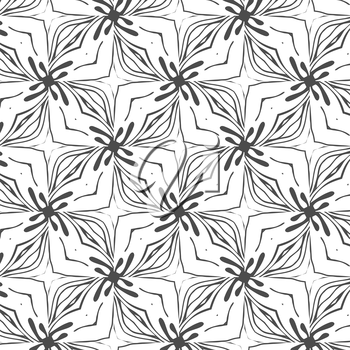 Primitive simple retro seamless pattern with lines and circles