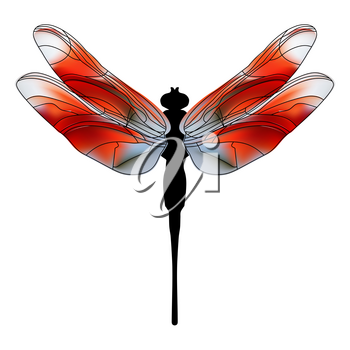 Funny child cartoon illustration of a dragonfly. Bright Dragonfly flutters a summer's day over flowers.