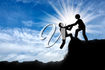 Helping hand concept. Human icon helps out to another person
