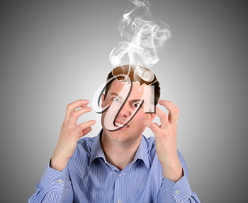 An evil man produces steam over your head. The concept of emotions and feelings
