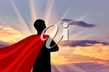 Superman businessman superhero. Silhouette of confident businessman superman looking at sunset