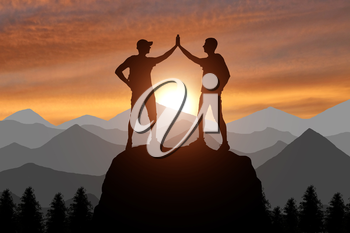 Silhouette of two happy climber conquered the top. A conceptual scene of success working in a team