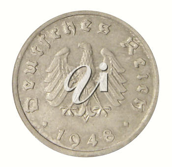 Close up of an ancient German coin of 1948.