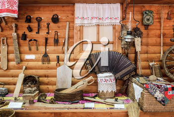 Selo Moldino , Russia - July 1, 2014: The life of Russian peasants. The exposition in the Museum.