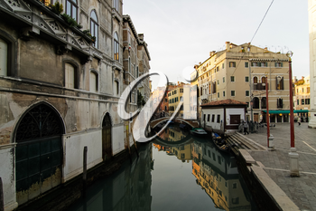 Venice, Italy - May 29, 2016: Venice in Italy, the architecture of the city, Venice is a popular tourist destination of Europe.