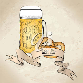 Illustration of a Pint of Beer and Pretzel