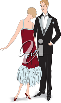 Couple on party. Man and woman in cocktail dress in vintage style 1920's. Portrait of an attractive flapper girl with her boyfriend. Retro fashion vector illustration isolated on white background.