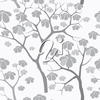 Tree seamless vector pattern. Japanese garden tiled background. Plant seamless texture of the branches on the white background Floral decor