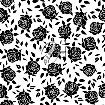 Floral pattern  Flower rose ornamental background Flourish texture with summer flower bouquet. Black and white floral tiled wallpaper